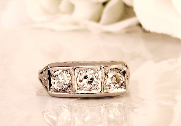 Antique Art Deco Engagement Ring 0.65ctw Old Mine Cut Diamond Wedding Ring 14K/10K White Gold Filigree Three Stone Anniversary Ring Sz 6.5!