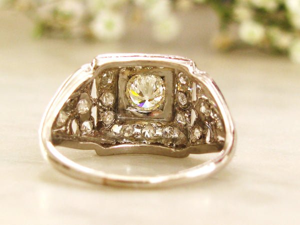 Art Deco Engagement Ring 0.77ctw European Cut Diamond Platinum Wedding Ring Bow Design Filgree Antique Engagement Ring!