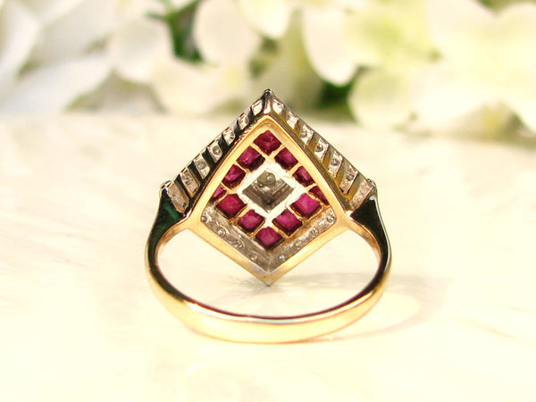 Art Deco Style Ruby Spinel & Diamond Ring Unique Square Alternative Engagement Ring 14K Gold Diamond Wedding Ring Bridal Jewelry Size 5!