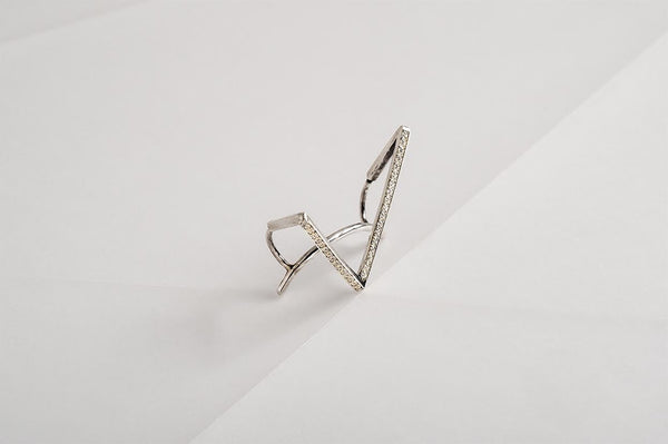 14k Solid WHITE Gold with White Diaamond Geometric Ear Cuff