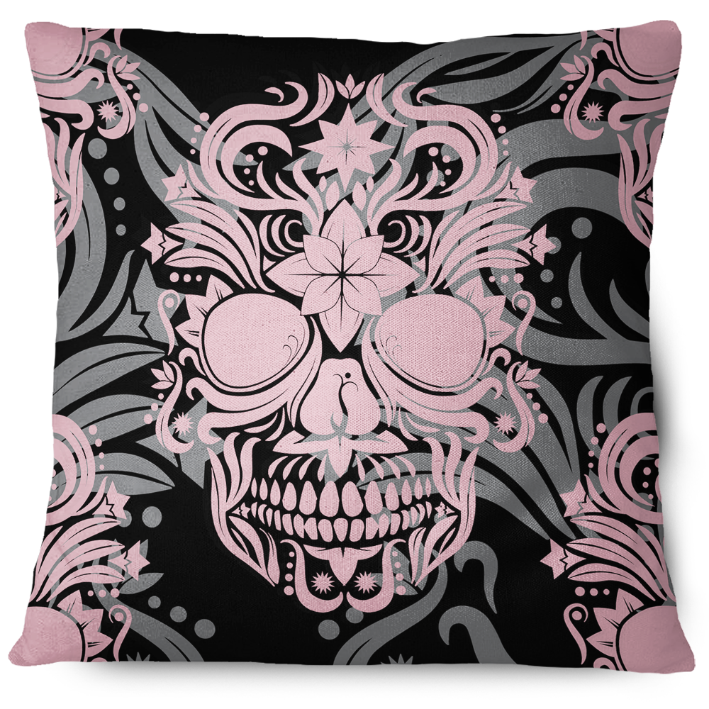 Enigma Skull Pillow Cover Pink