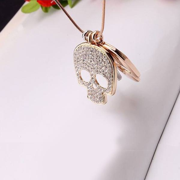 Rose Gold Plated Skulls Necklace 3