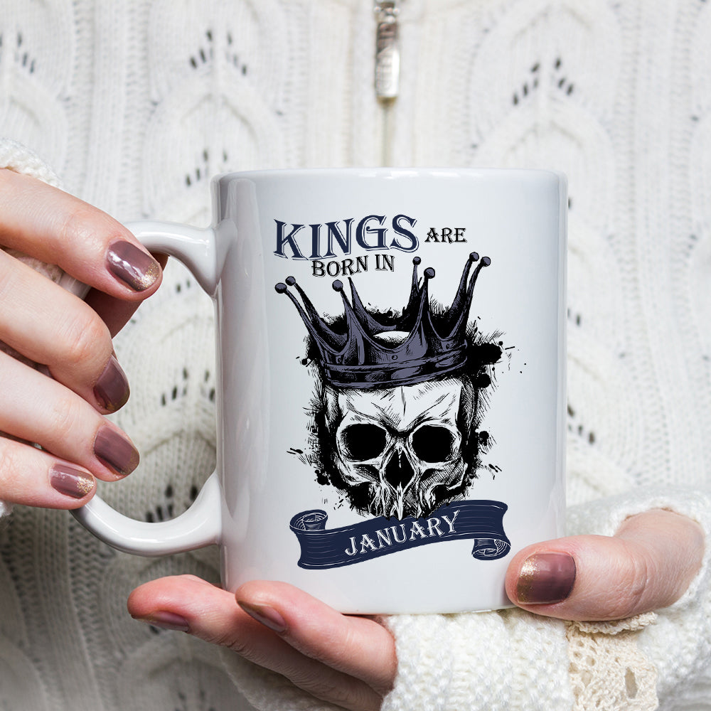 Kings Are Born In January-December Skull Mug