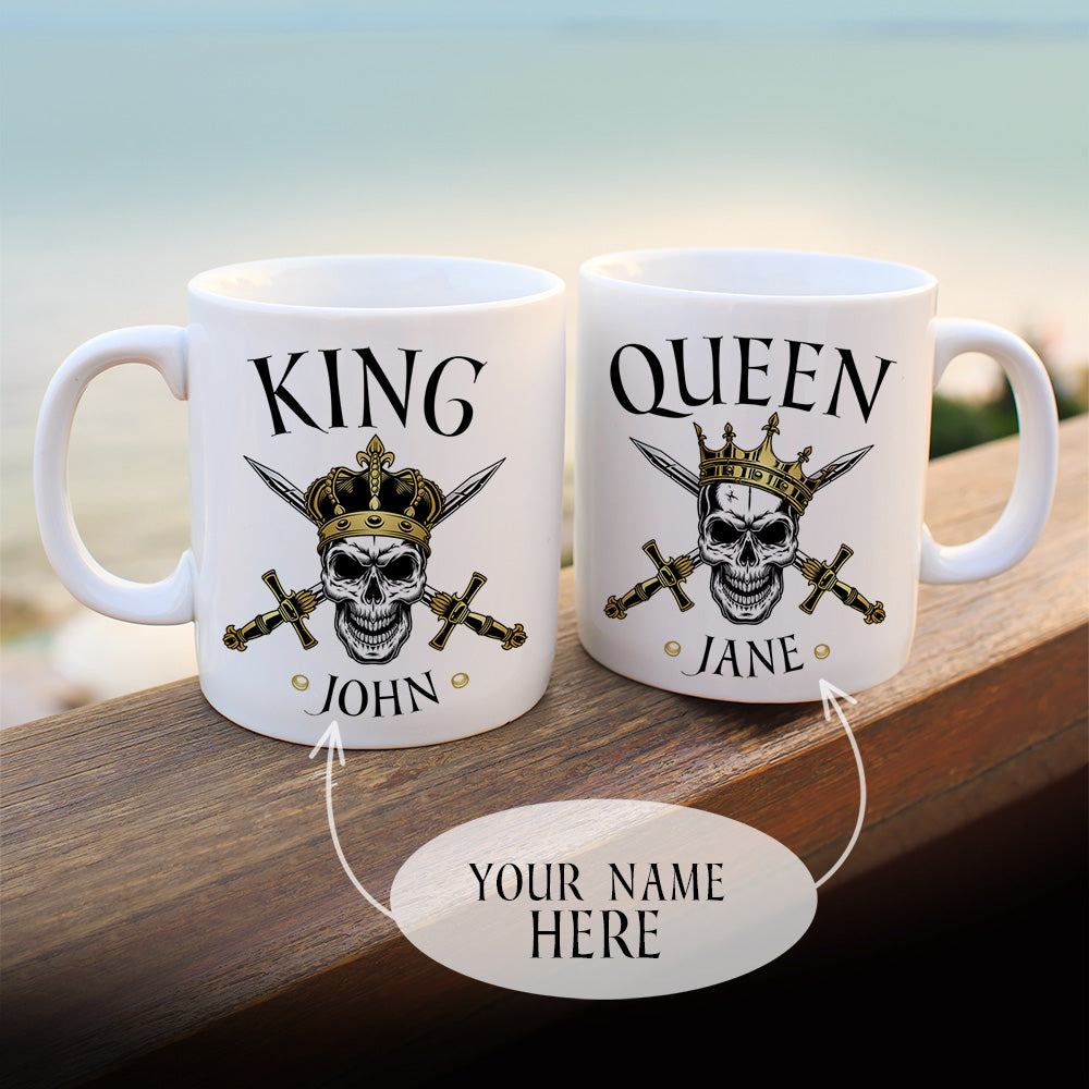 Personalized Skull King And Skull Queen Mugs Set