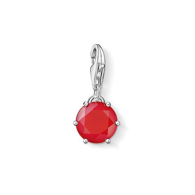 Charm Club July birthstone with red treated bamboo coral