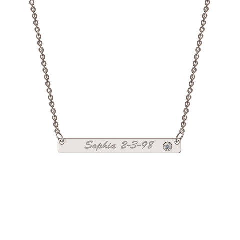 Me-Mi Personalised Classic Bar Necklace with Diamond