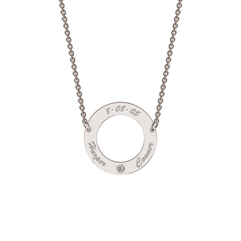 Me-Mi Personalised Classic Circle Necklace with Diamond