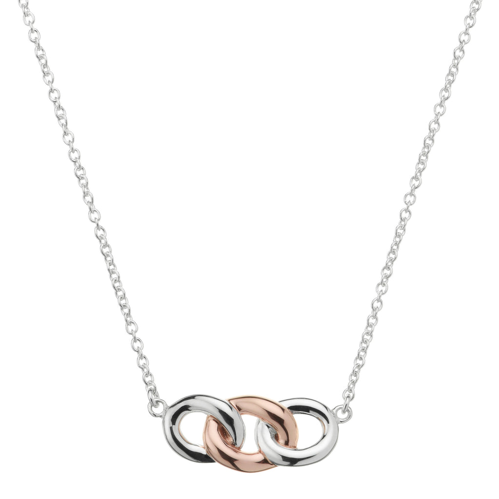 Silver necklace with rose link