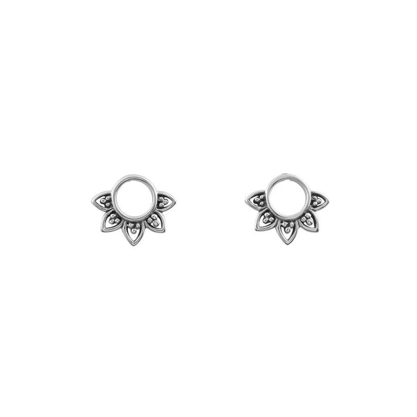 Silver circle and filigree design studs