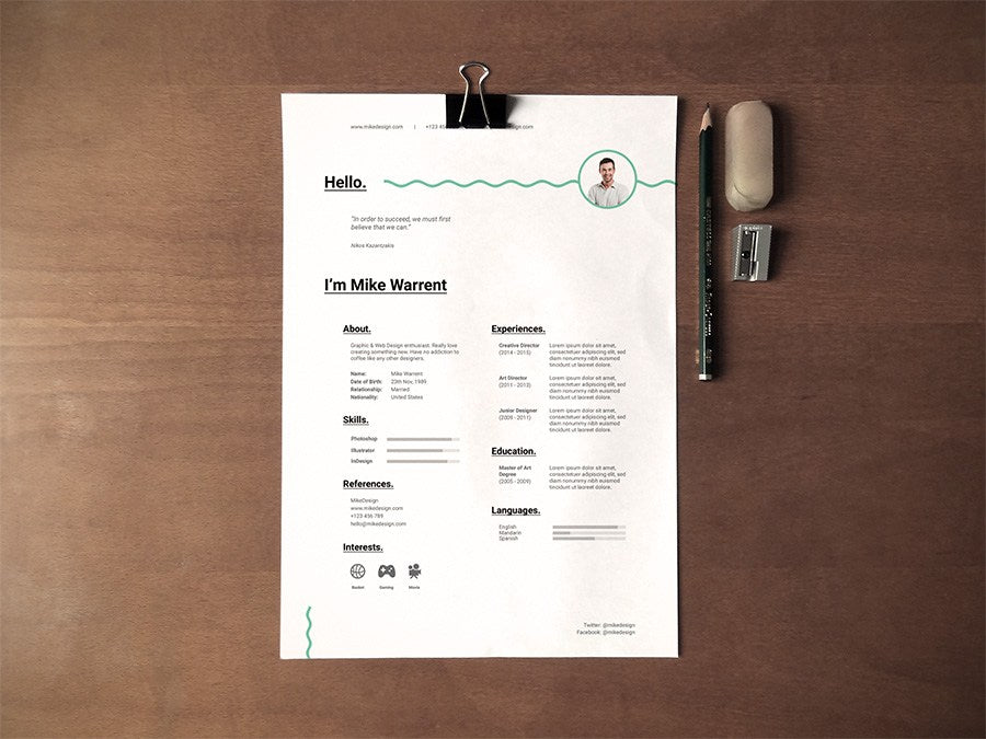 free clean and minimalist cv resume template