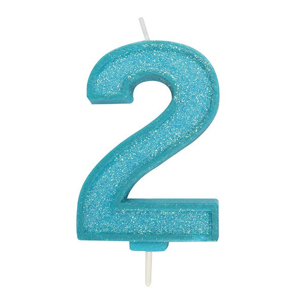 Blue Sparkle Numeral Candle - Number 2