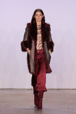 BURGUNDY AND GREY COAT WITH FAUX FUR