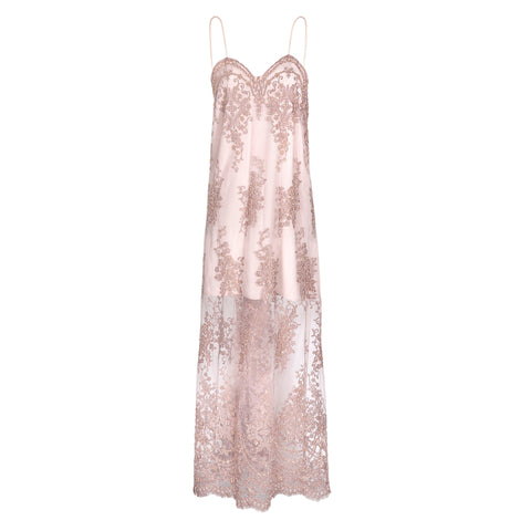 DUSTY PINK EMBROIDERED SLIP DRESS