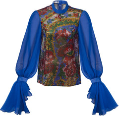 PRECIOSA CRYSTAL NET TOP WITH BLUE SLEEVES