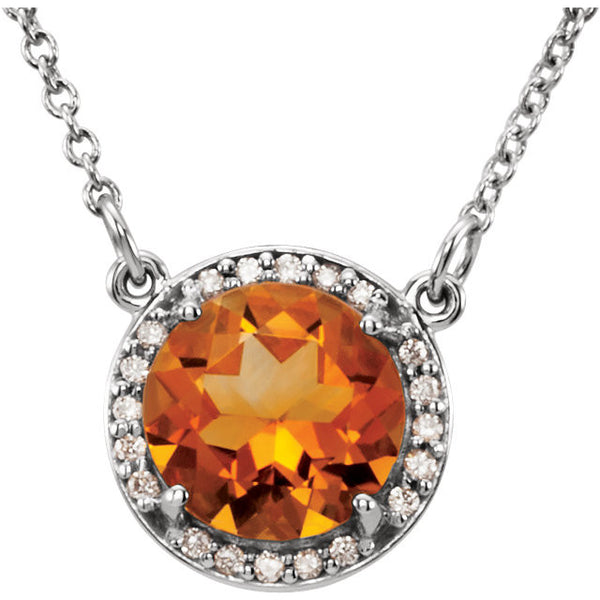 14kt White Gold Citrine and Diamond Halo Pendant