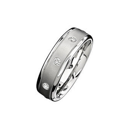 14kt White Gold and Diamond Wedding Band