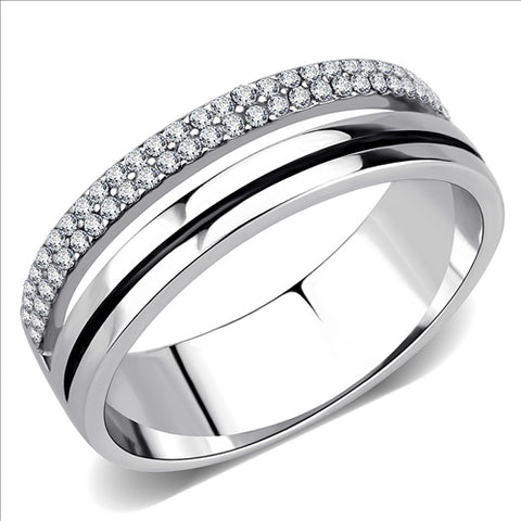 Stainless Steel Ring High polished (no plating) Men's and Women AAA Grade CZ Clear