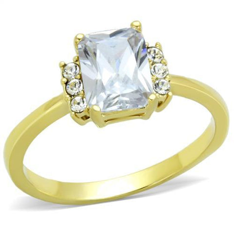 Emerald Cut Crystal Ring Gold ION Plating Stainless Steel