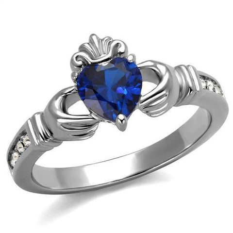 Claddagh-Dark Blue Heart Crystal Ring