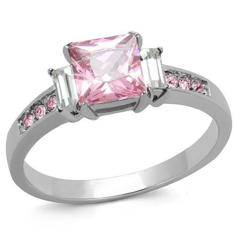 Stainless Steel Ring High polished (no plating) Women AAA Grade CZ Rose Newest Birthstone