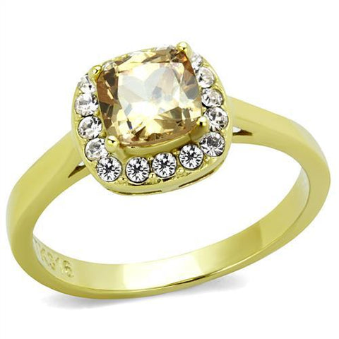 Stainless Steel Ring IP Gold(Ion Plating) Women AAA Grade CZ Champagne Newest Petite