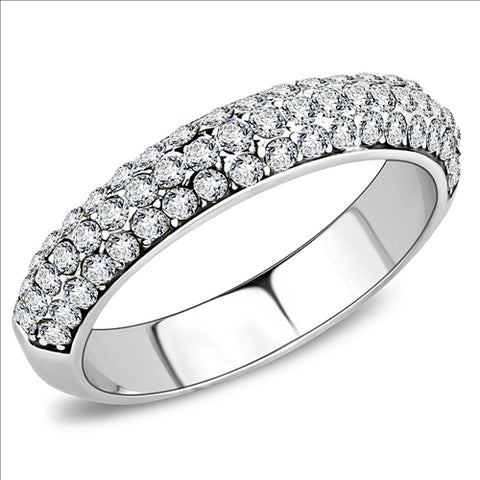 Stainless Steel High Polished Band with Crystals - Pave