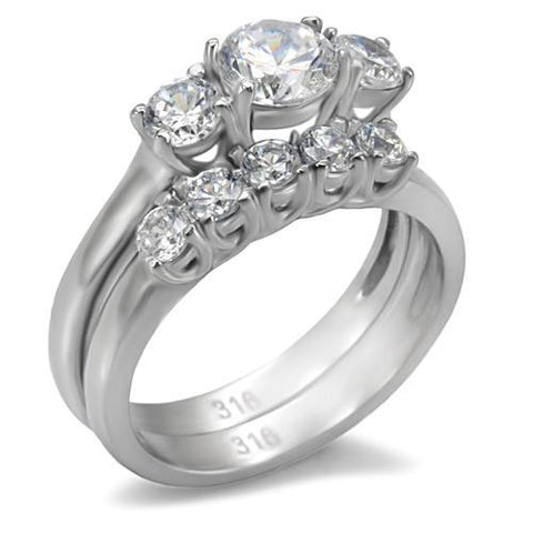 Stainless Steel Ring High polished (no plating) Women AAA Grade CZ Clear Wedding Set Newest