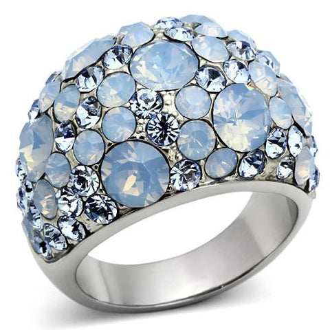Crystal Cocktail Designer Replica Ring with Light Sea Blue Pave Crystals - Newest
