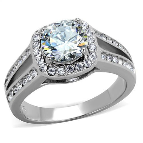 Clear Center Stone with pave Halo Stainless Engagement Ring - Newest