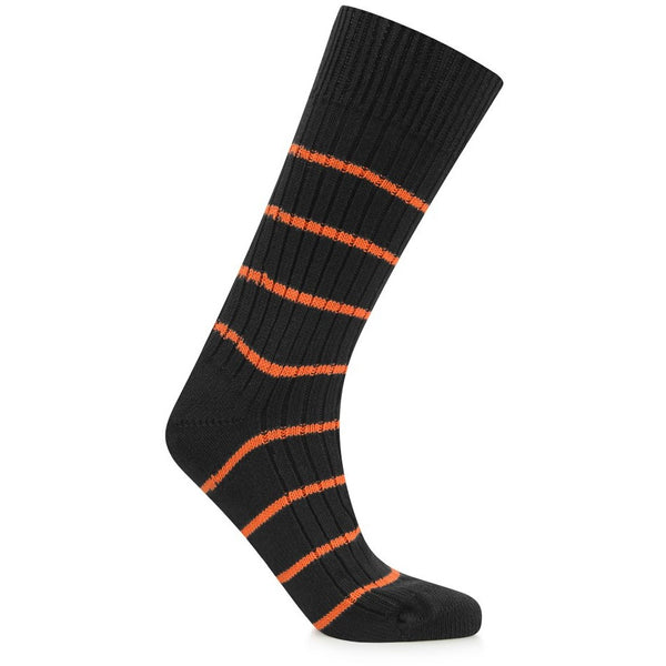 Burrows & Hare Stripe Sock - Black/Tango - Burrows and Hare