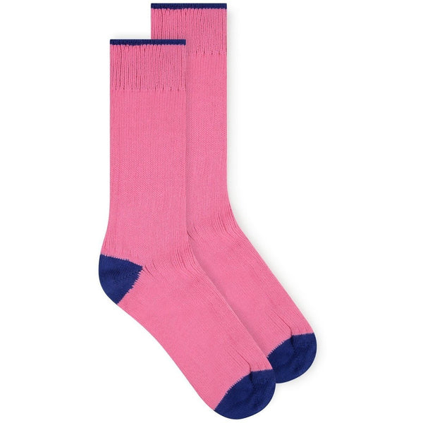Burrows & Hare Heel Sock - Pink/Navy - Burrows and Hare