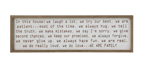 """In This House"" 40"" x 12"" Wood Framed Sign"