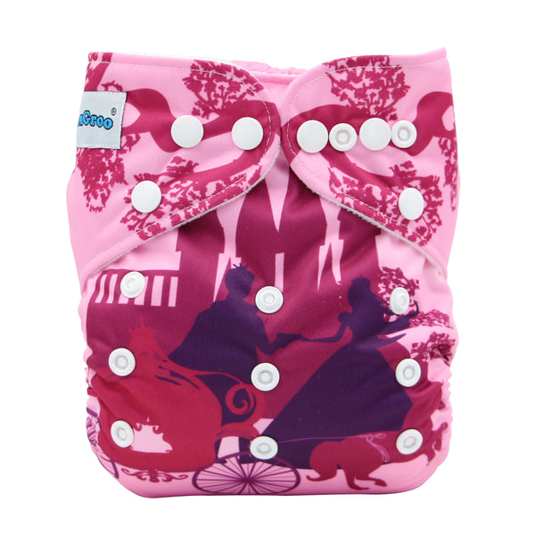 FoxGroo Pocket Diaper,Ever After print with 4 layers bamboo insert