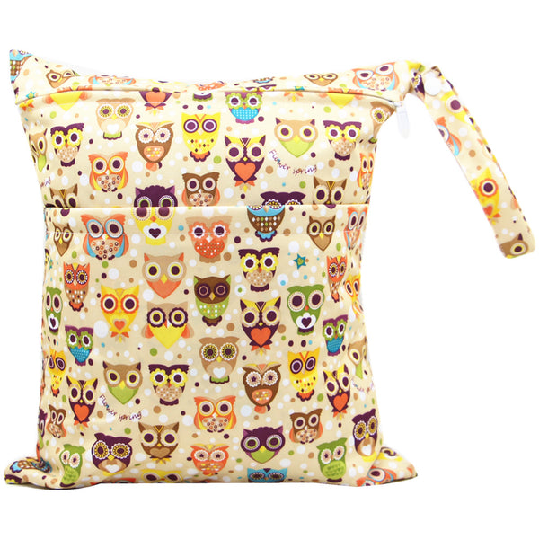 Owl Travel Wet and Dry Wet Bags Waterproof Reusable with Two Zippered Pockets