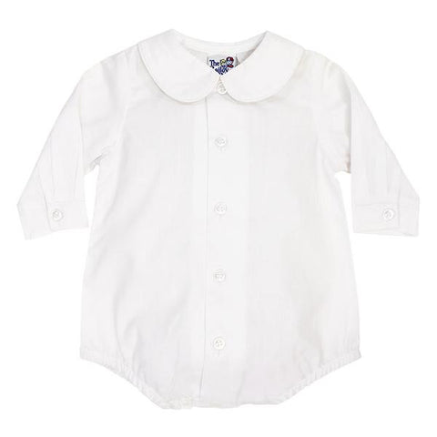 Bailey Boys White, Piped Peter Pan  Collar Shirt with Snaps