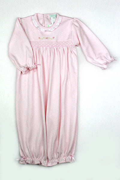Baby Threads Pink Smocked Rosevine Conv. Gown