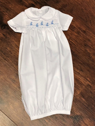 Bailey Boys White with Blue Smocked Sailboats Sack