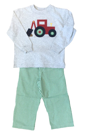 Bailey Boys Backhoe Green Plaid Pant Set