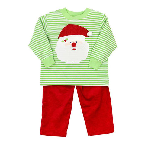 Bailey Boys Green Striped Santa Pant Set