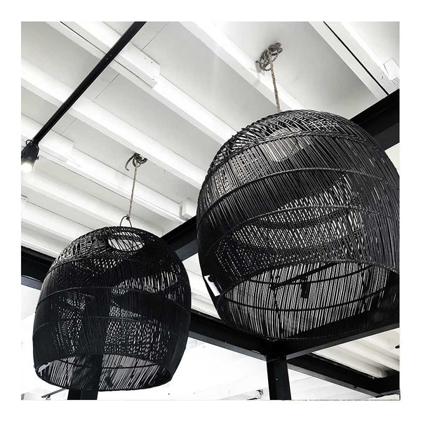 dome rattan pendant - black
