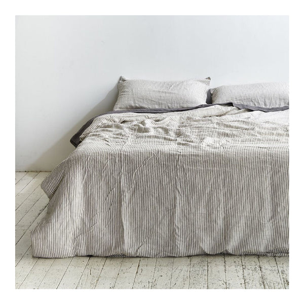 linen duvet cover queen - stripe
