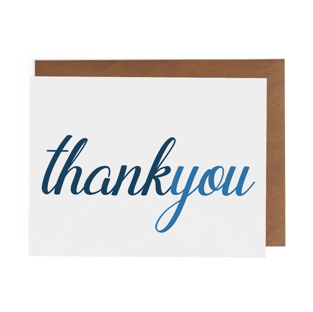 Thank You - Blue Script - Lost Art Stationery