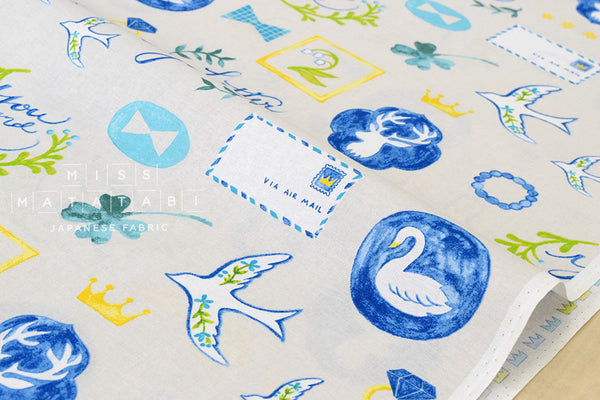 Kokka Cut Out Air Mail - blue, yellow, green - fat quarter