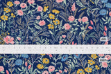 Japanese Fabric Floral twill - blue - 50cm