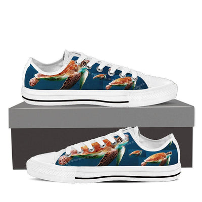 Unique Turtle Race Women Low Top Canvas Sneakers