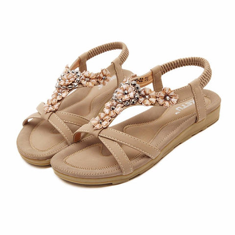 Bohemia Women Flower  Slip-on Flat Casual Ladies Sandals Shoes