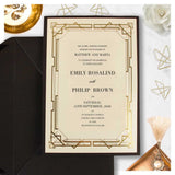 Gatsby Gold Foil Elegant Wedding Invitation