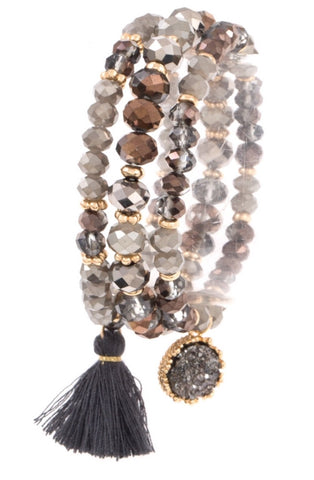 Mixed Bead Tassel Bracelet Trio