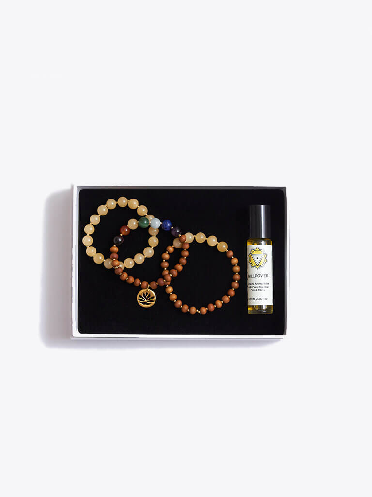 Courage & Positivity Chakra Bracelet Stack & Essential Oils Gift Box