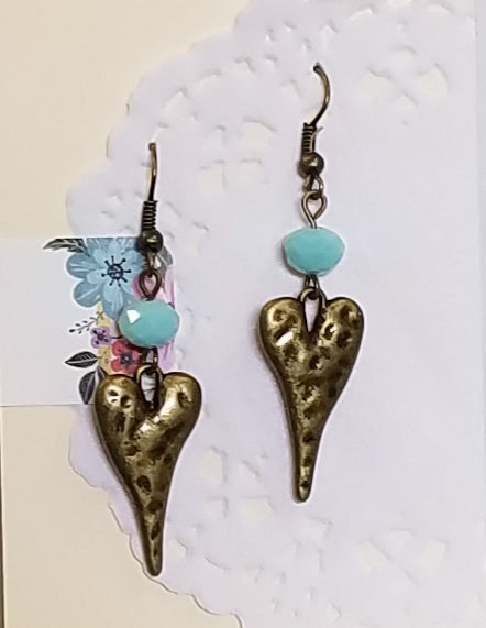 Bronze Heart Beaded Dangle Earrings